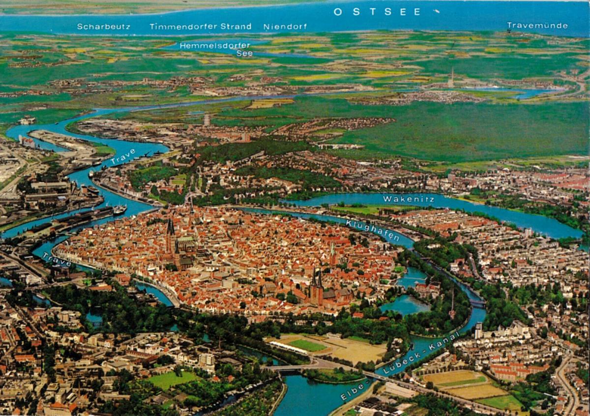 Ansichtskarte, Lübeck, Luftbildtotale, um 1990