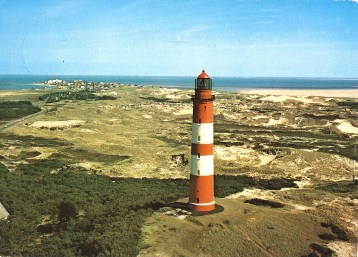 Ansichtskarte, Insel Amrum, Leuchtfeuer mit Wittdün, 1974