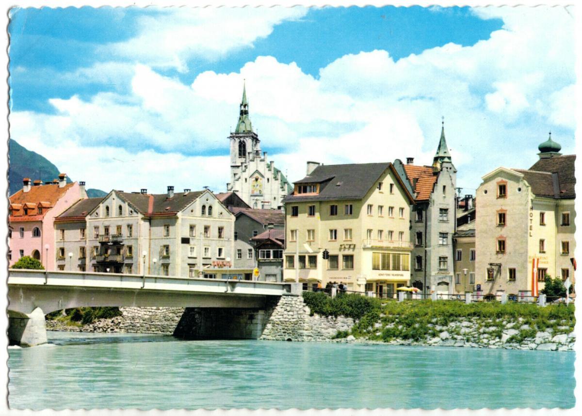 Ansichtskarte, Schwarz in Tirol, Teilansicht mit Brücke, 1973
