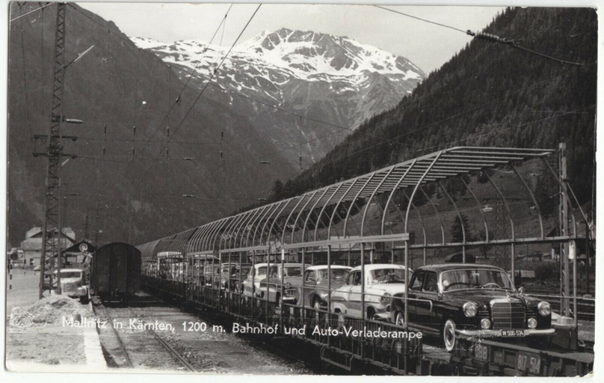 Ansichtskarte, Mallnitz, Kärnten, Bahnhof und Auto-Verladerampe, um 1960
