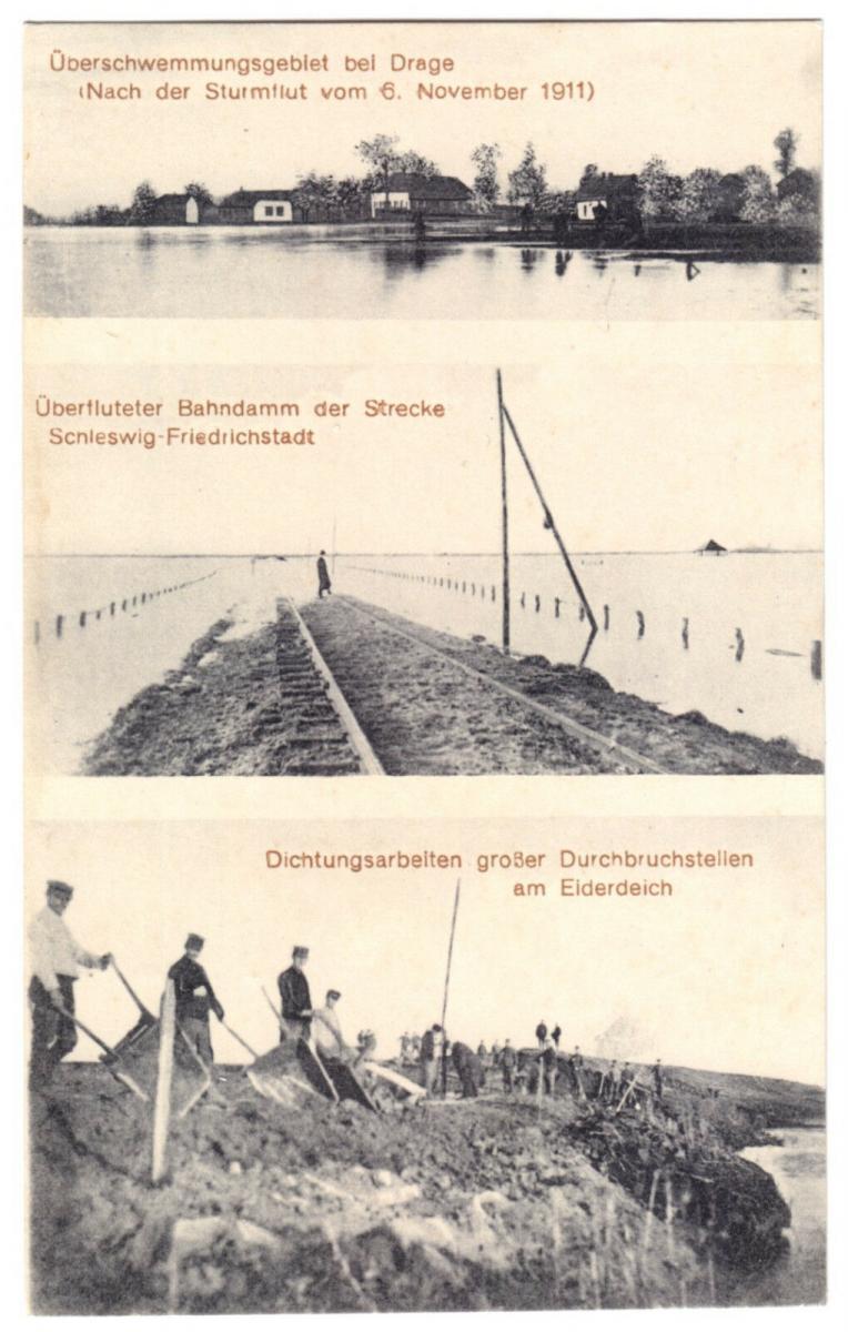 Ansichtskarte, Drage Nordfriesland, Überschwemmungen nach Sturmflut vom 6.11.1911, drei Abb