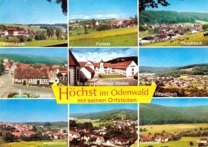 Ansichtskarte, Höchst im Odenwald mit seinen Ortsteilen, neun Abb., um 1977
