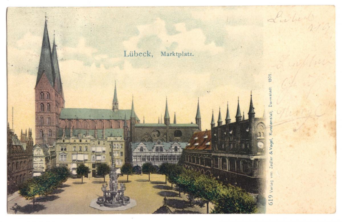 Ansichtskarte, Lübeck, Marktplatz, 1901
