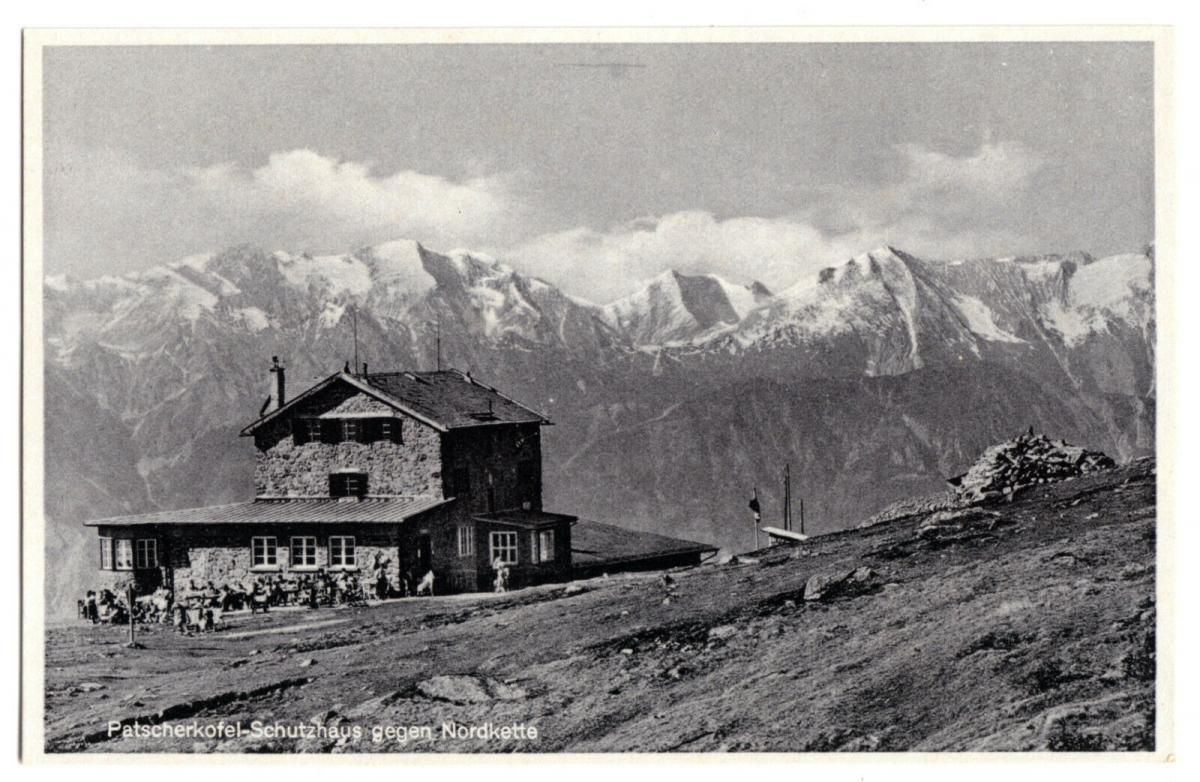 Ansichtskarte, Patscherkofel-Schutzhütte gegen Nordkette, Tirol, um 1938
