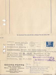 Rechnung, Fa. Georg Poppe, Röhren - Formstücke - Armaturen, Leipzig C 1, 16.7.53