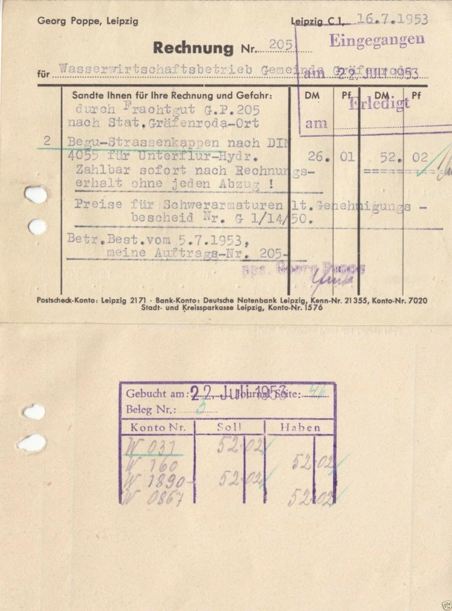 Rechnung, Fa. Georg Poppe, Röhren - Formstücke - Armaturen, Leipzig C 1, 16.7.53 1