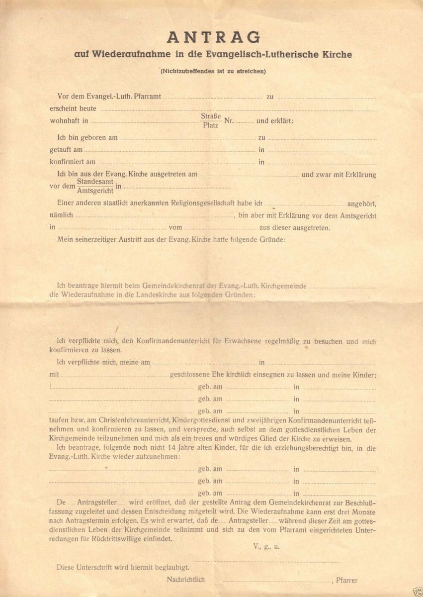 Antrag auf Wiedersufnahme in die Ev.-Luth. Kirche, 1953