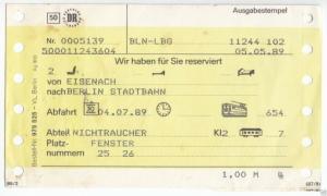 Reservierungskarte, Deutsche Reichsbahn, Eisenach - Berlin Stadtb, 5.5.89