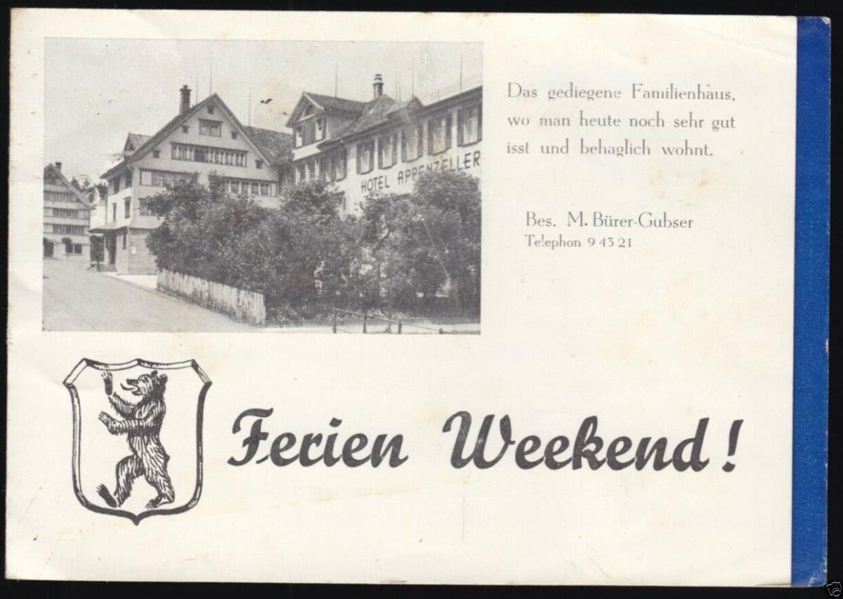 Prospekt, Appenzellerhof Speicher ob St. Gallen, 1960er Jahre