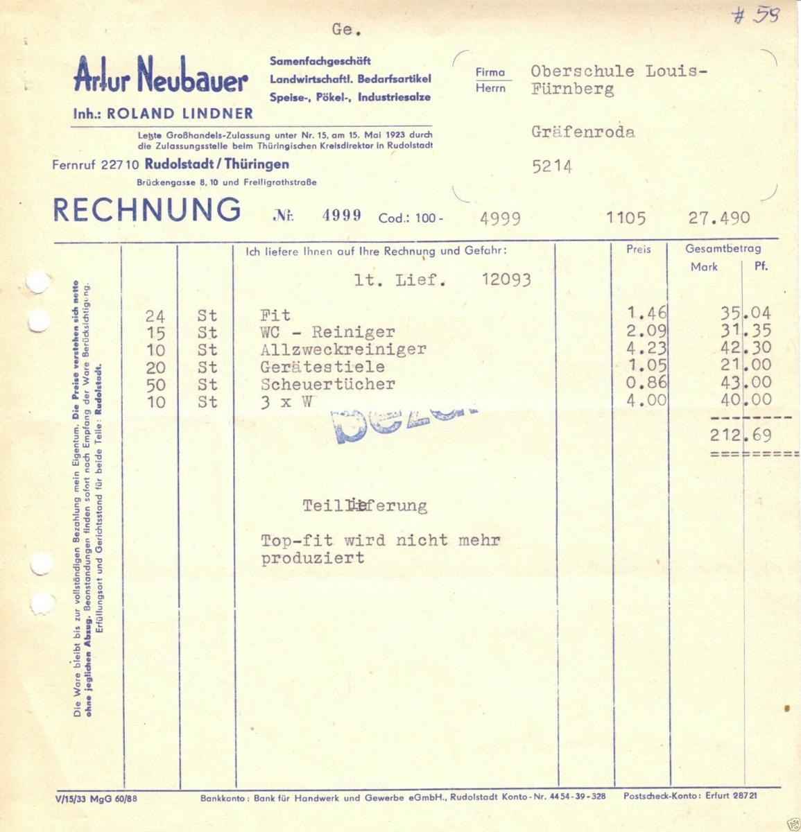 Rechnung, Fa. Artur Neubauer, Rudolstadt Thüringen, um 1965