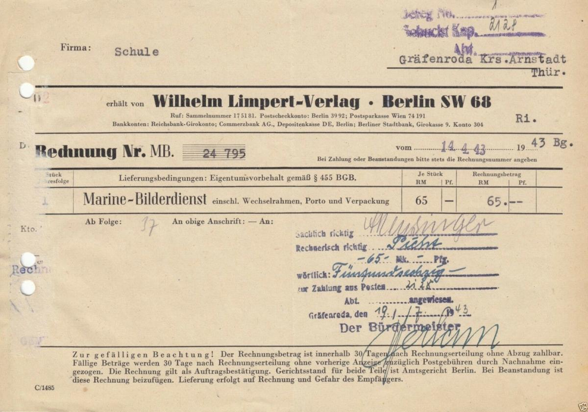 Rechnung, Wilhelm-Limpert-Verlag, Berlin SW 68, 1943