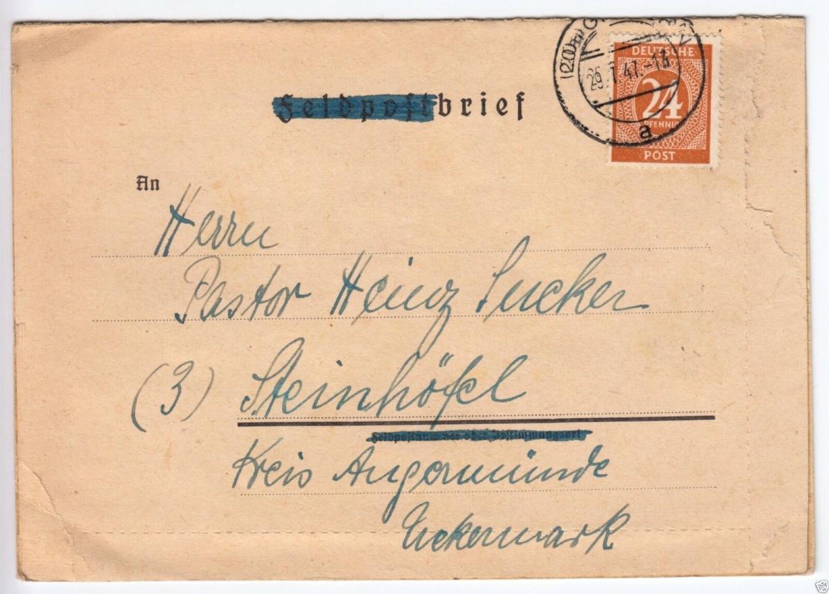 Bedarfsbrief, Mi-Nr. Einheit 925, EF, o (20a) Gifhorn, 29.7.47