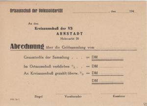 Abrechnungskarte einer Geldsammlung der Volkssolidarität, Arnstadt, um 1950