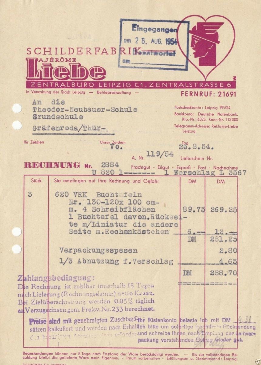 Rechnung, Schilderfabrik A. Jérome Liebe, Leipzig C 1, 23.8.54