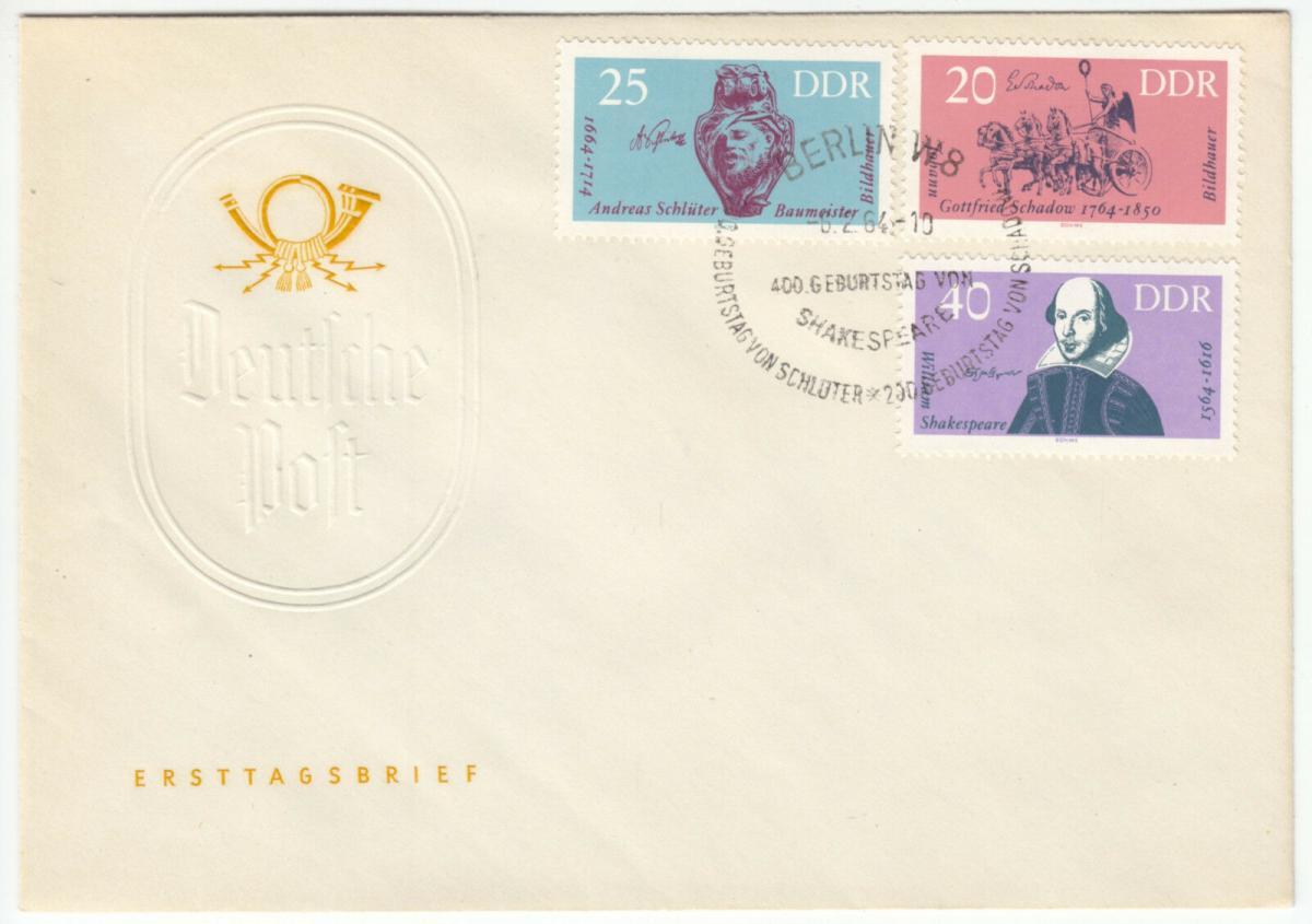 FDC, Mi.-Nr. DDR 1009-11, o SSt, Berlin W 8, 6.2.64