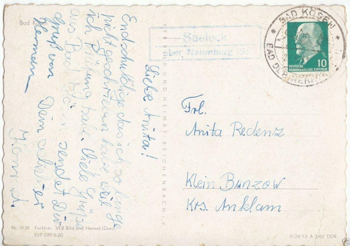 Landpoststempel, Poststelle II, Saaleck über Naumburg (S), Bad Kösen, 20.6.62