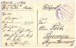 Feldpostbeleg, I. WK, Kgl. Preuss. Lauenburgisches Fuss-Artillerie-Rgt. 20, 1917