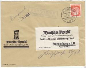 Landpoststempel, Poststelle II, Bernheide Wittenberge (Bz.Potsdam) Land, 13.3.33