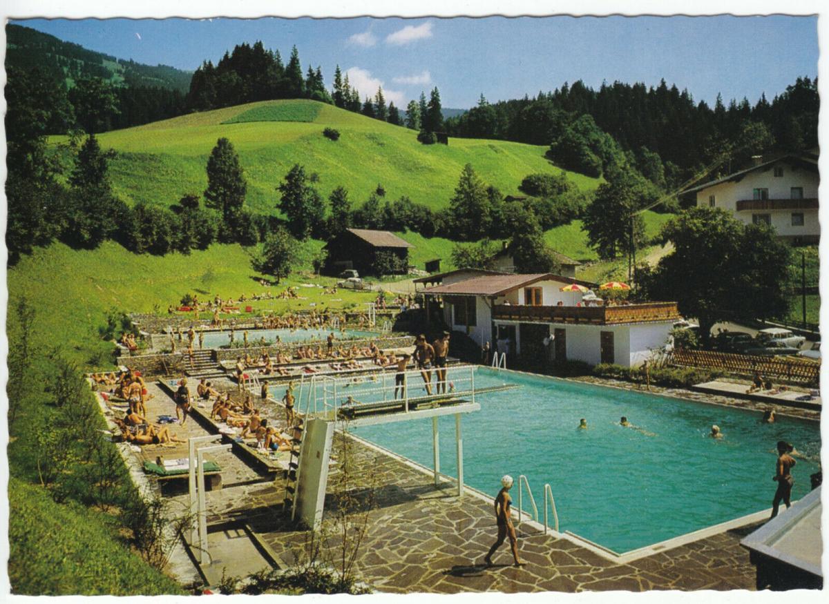 Ansichtskarte, Hopfgarten Nordtirol, Das neue Schwimmbad, um 1970