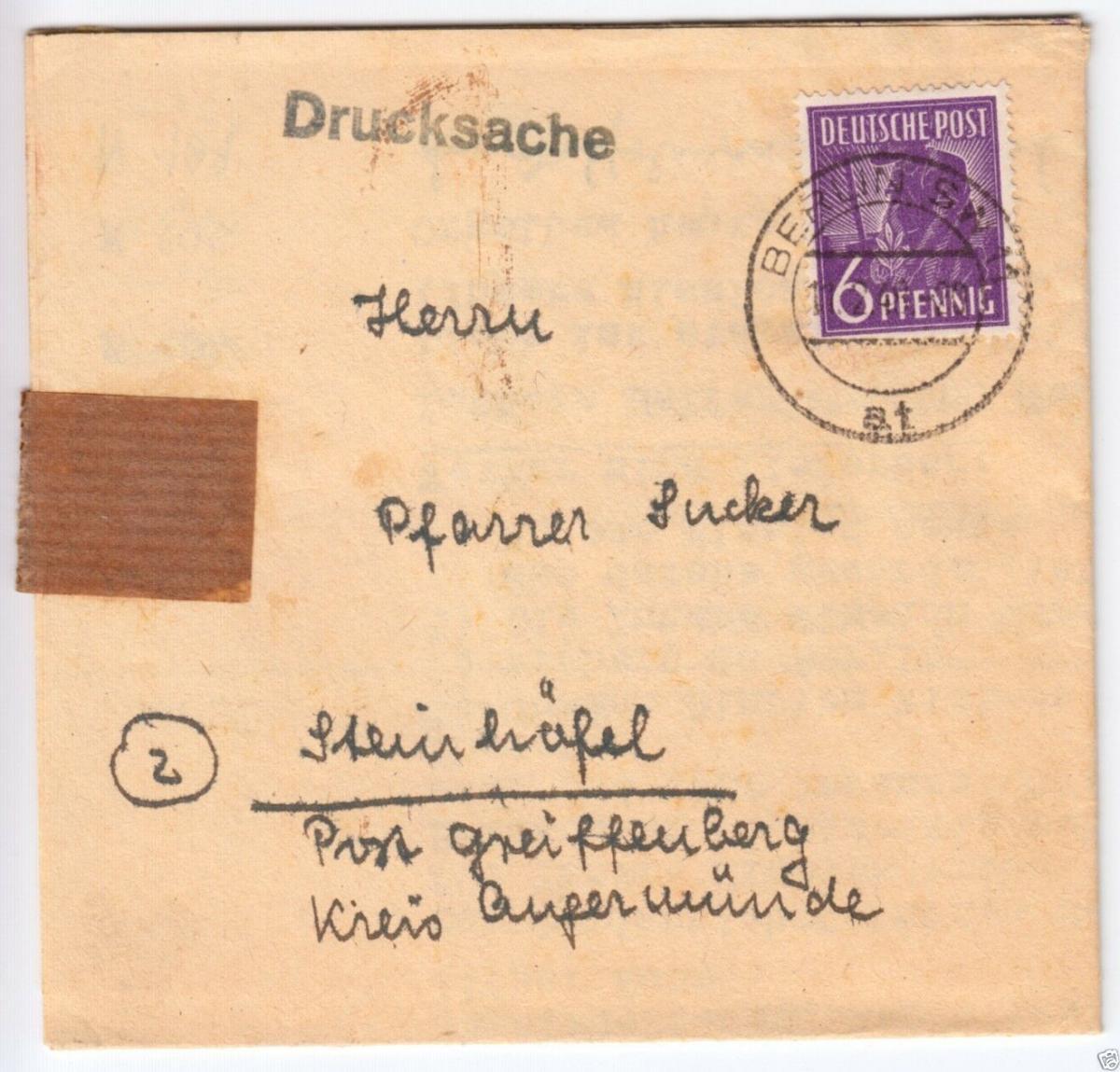 Drucksache, Mi-Nr. Einheit 944 EF, o Berlin SW 11, 11.2.48