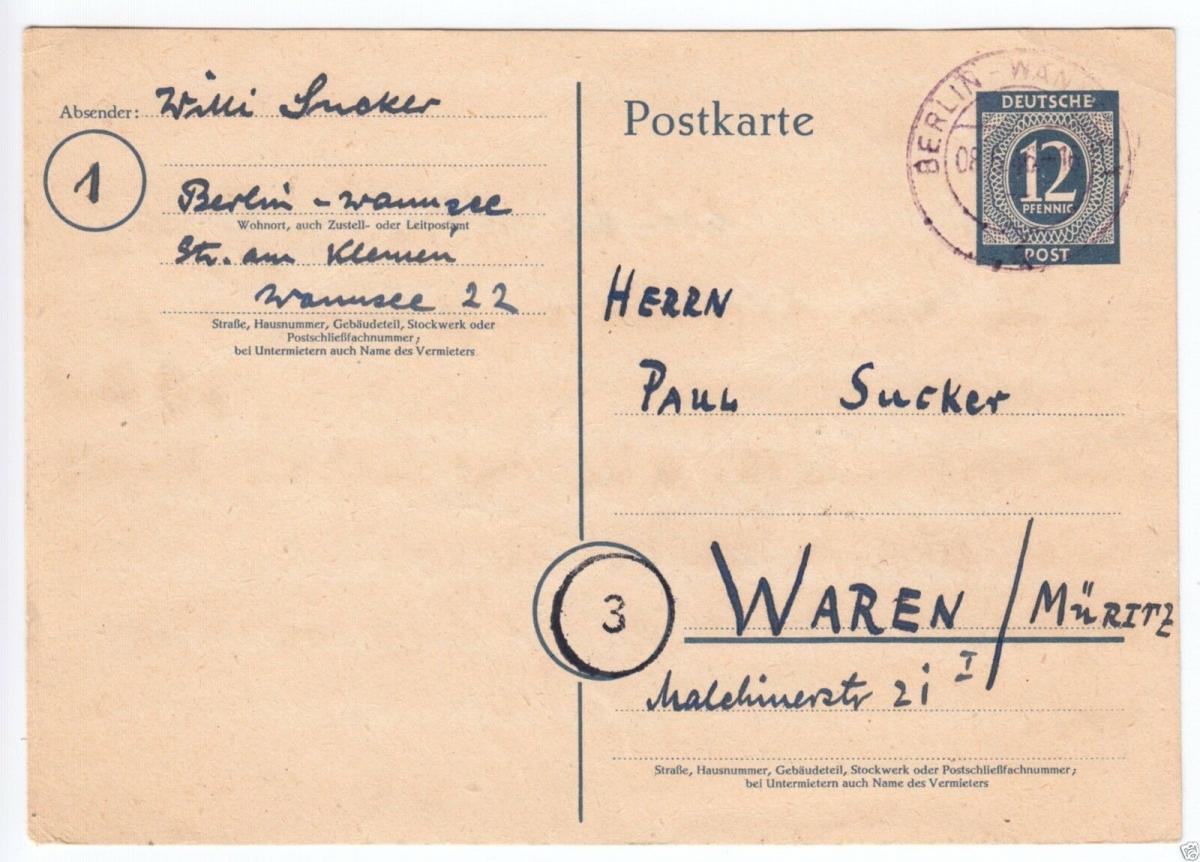 Ganzsache, Mi-Nr. Einheit P954, o Berlin-Wannsee 1, 8.6.46