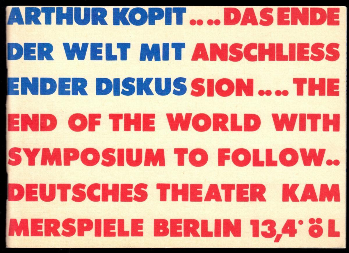Theaterprogramm, Kammerspiele des DT Berlin, A. Kopit, Das Ende der Welt.., 1986