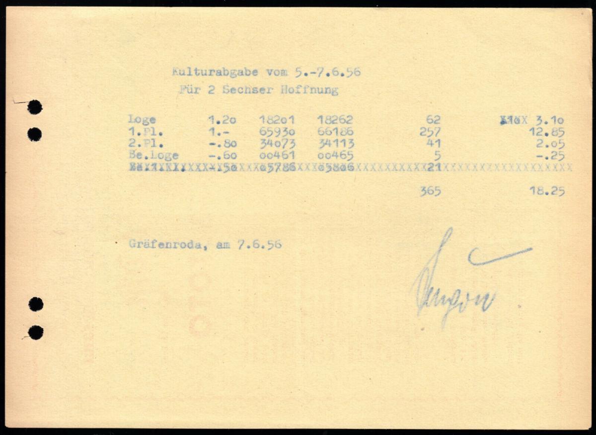 Abrechnung, Kulturabgabe für Kinokarten, 1956 - rückseitig Werbung Preisausschr.