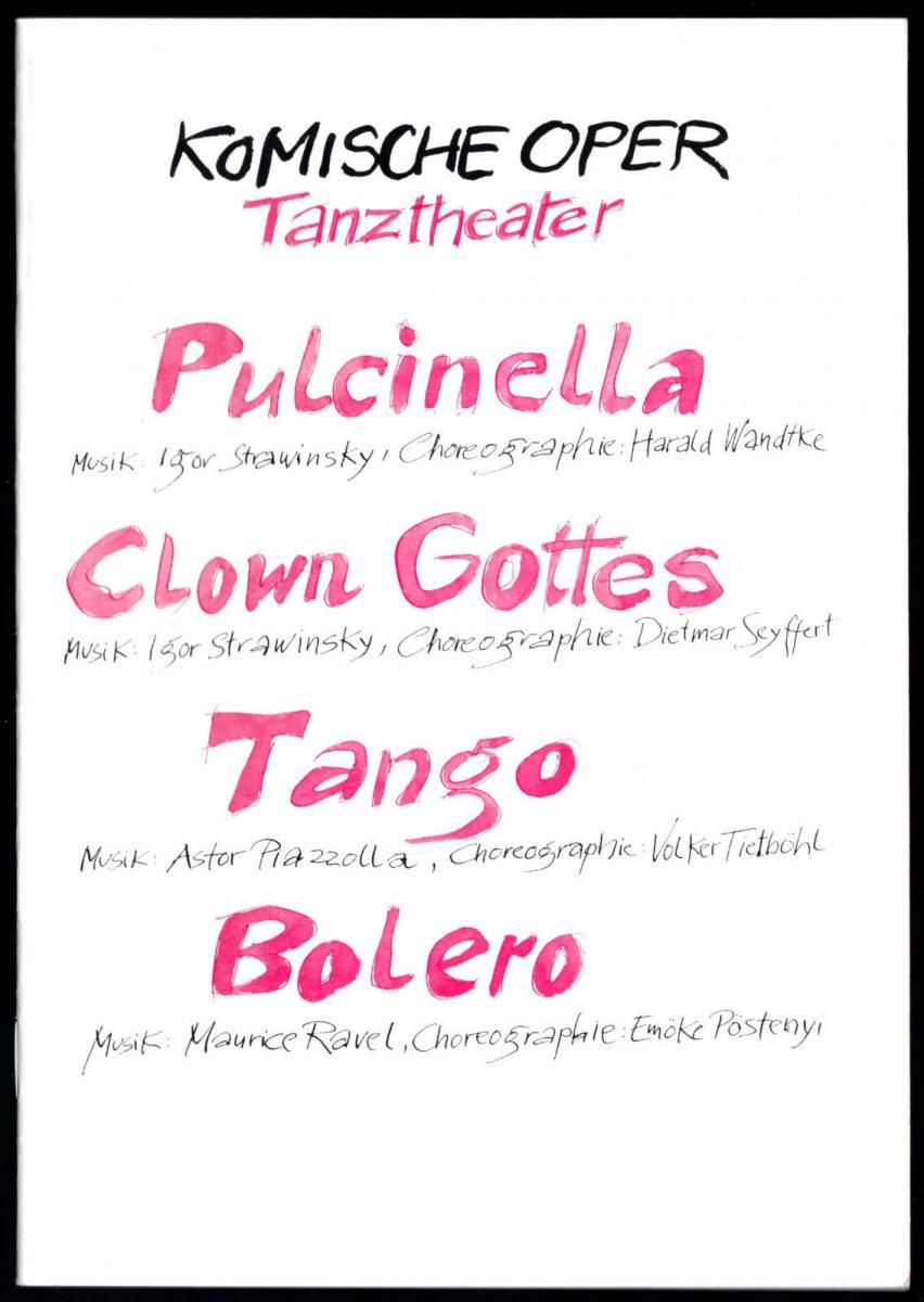 Theaterprogramm, Komische Oper Berlin, Tanztheater, Ballettabend, 1991