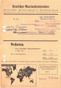 Rechnung, Fa. Deutscher Auslandskalender, Berlin W 30, 5.9.1939