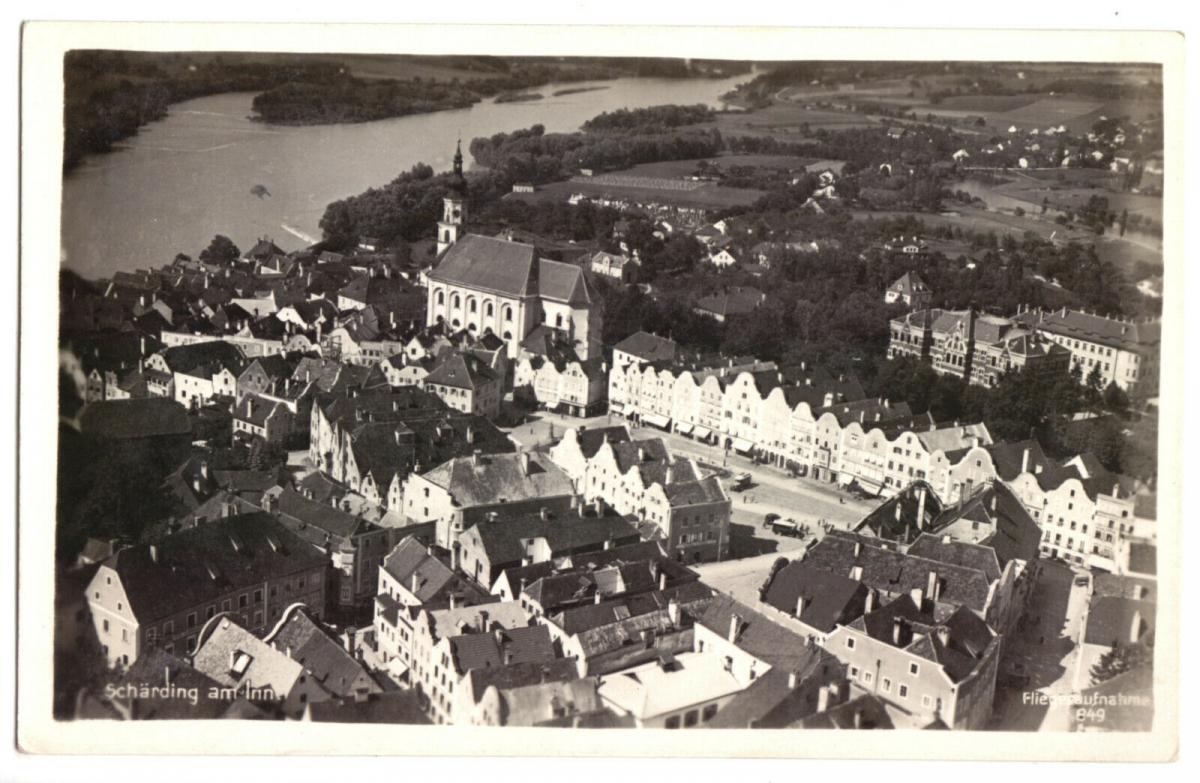Ansichtskarte, Schärding OÖ, Luftbildansicht der Innenstadt, um 1939