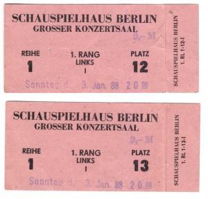 Zwei Eintrittskarten, Schauspielhaus Berlin, Grosser Konzertsaal, 3.1.88