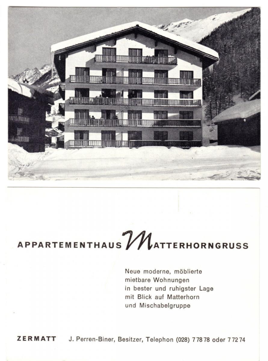 Zermatt (Wallis), zwei Hotelkarten, Matterhornblick und Matterhorngruß, um 1990
