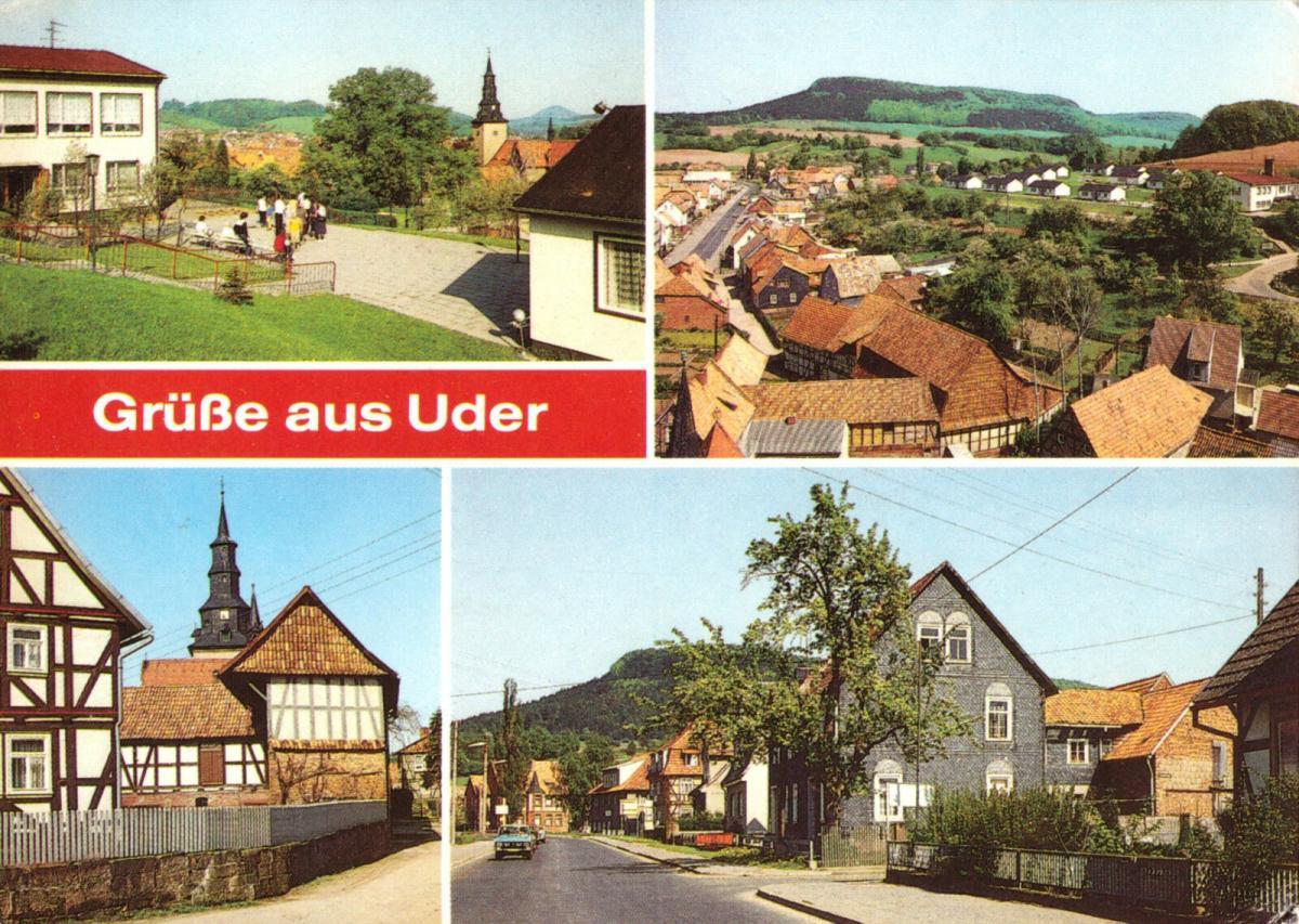 Ansichtskarte, Uder Eichsfeld, vier Abb., 1989