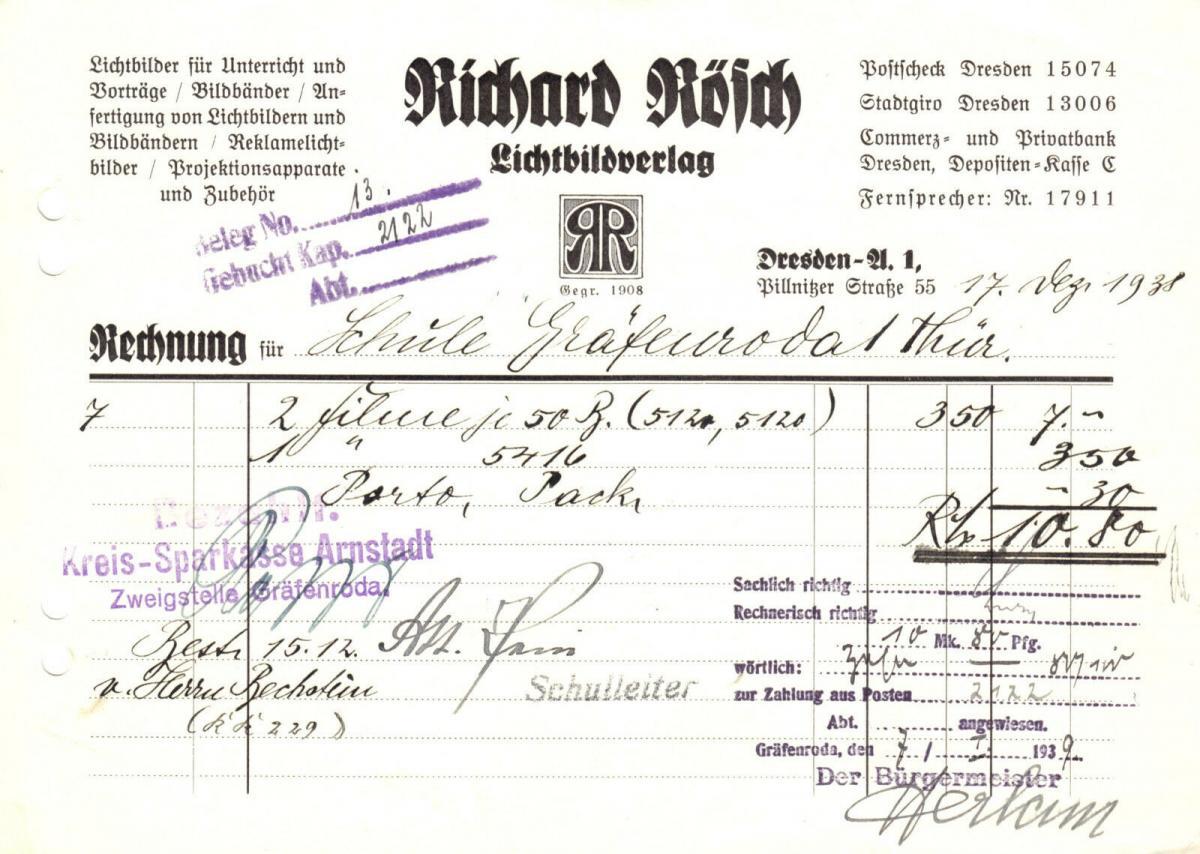 Rechnung, Lichtbildverlag Richard Rösch, Dresden A 1, Pillnitzer Str., 17.12.38