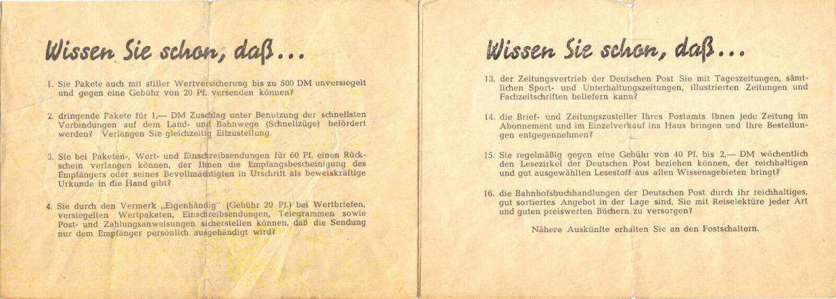 Werbefaltblatt der Deutschen Post, 1952 1