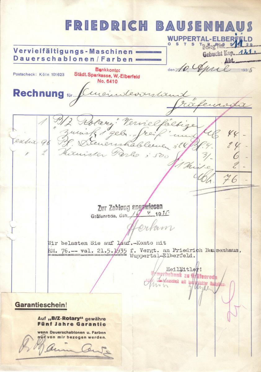Rechnung, Fa. Friedrich Brausenhaus, Wuppertal-Elberfeld, Oststr. 29, 10.4.35