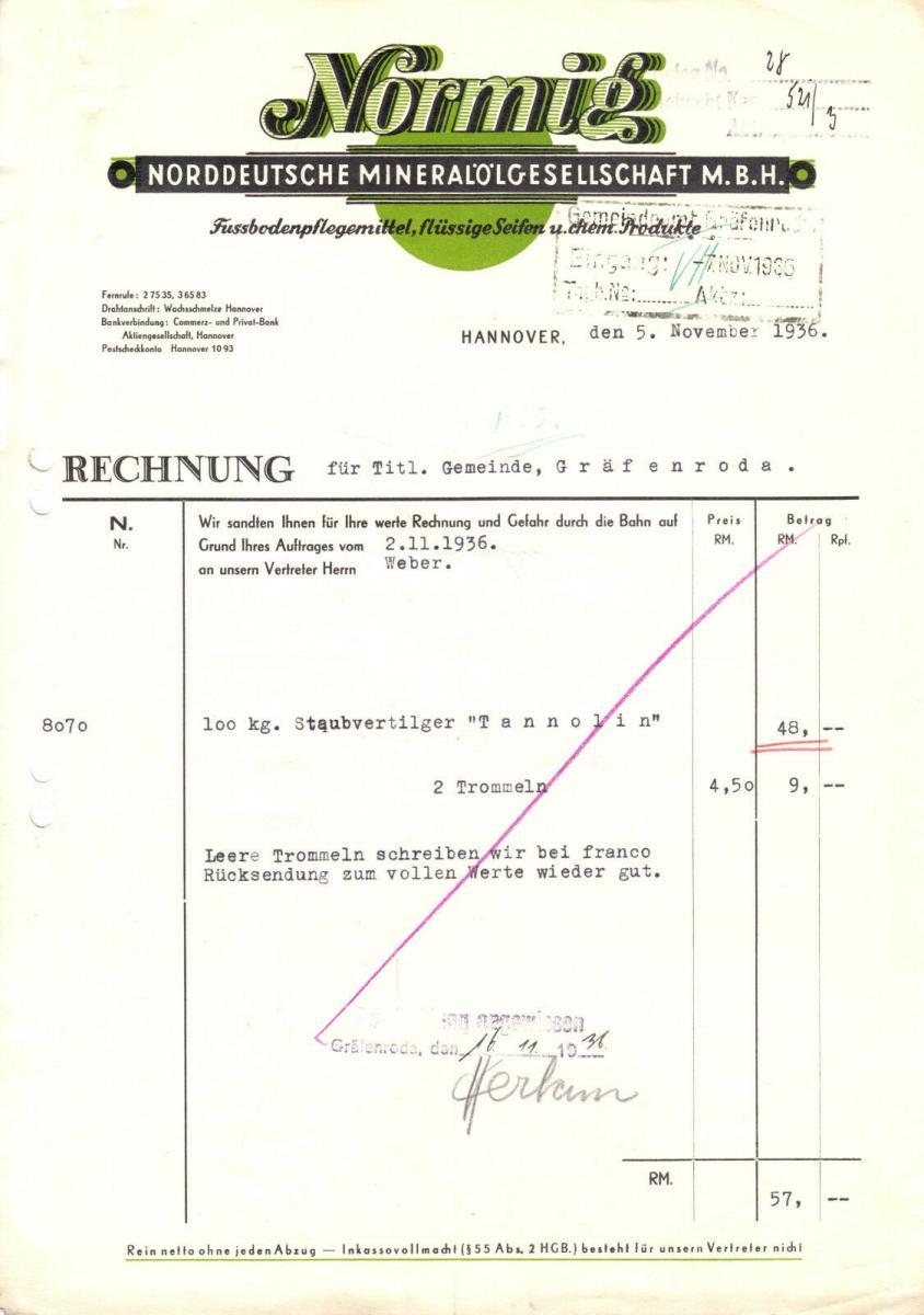 Rechnung, Normig, Norddeutsche Mineralölgesellschaft mbH Hannover, 5.11.36
