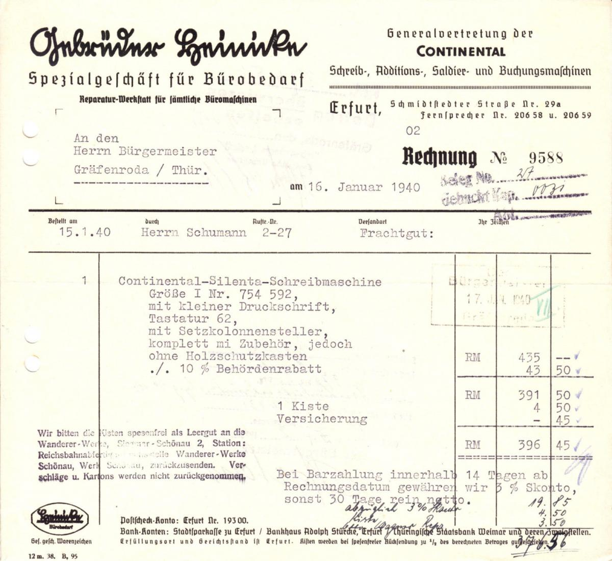 Rechnung, Fa. Gebrüder Reinicke, Bürobedarf, Erfurt, 16.1.1940