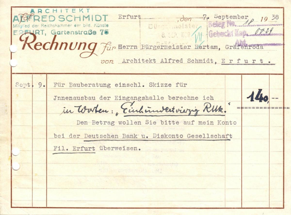 Rechnung, Architekt Alfred Schmidt, Erfurt, 07.09.1938