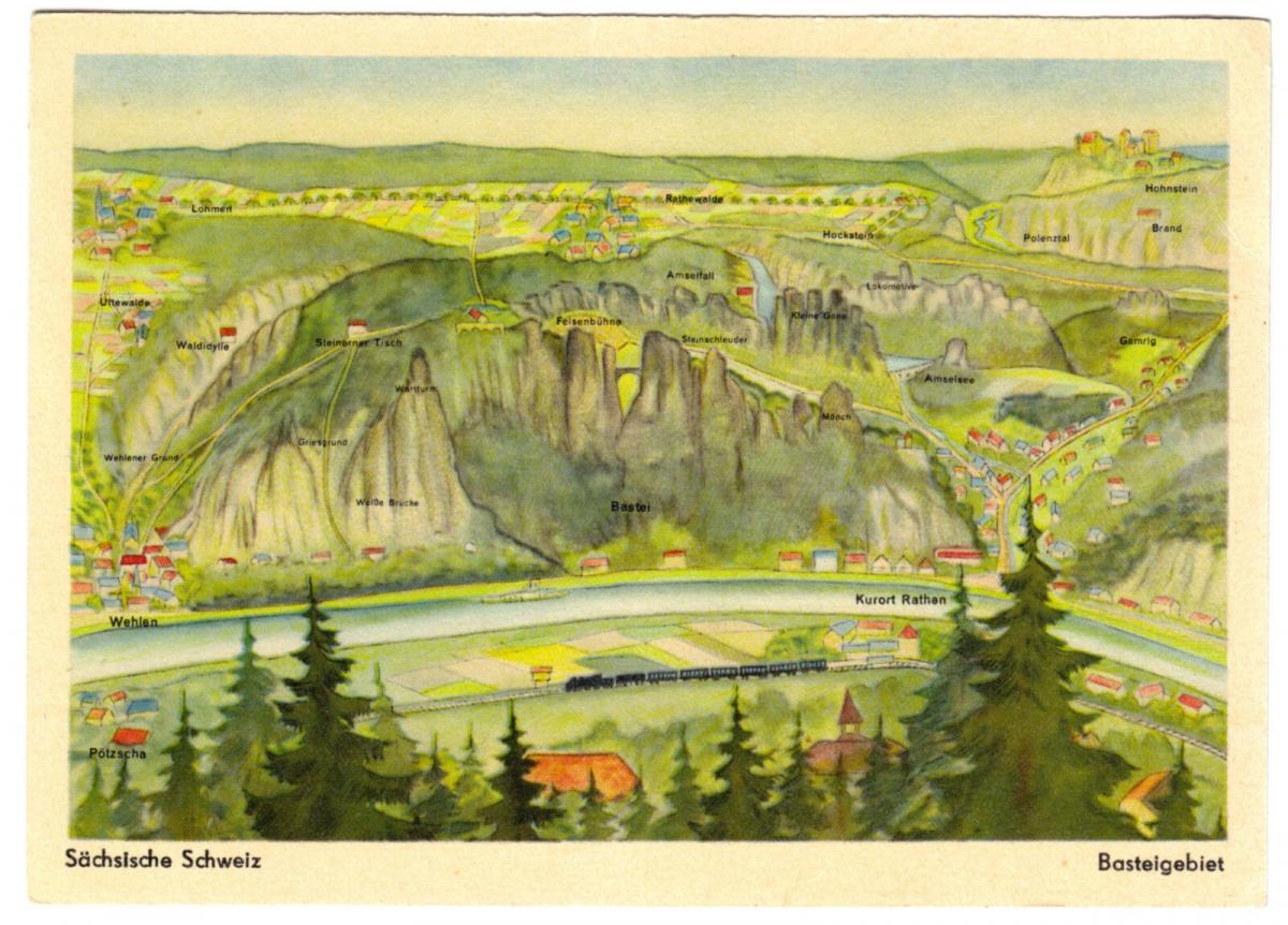 Ansichtskarte, Vogelschaukarte, Sächsische Schweiz, Basteigebiet, 1956