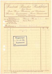 Rechnung, Fa. Friedrich Fleischer Nachf., Buchhandlung, Ilmenau, 9.4.54