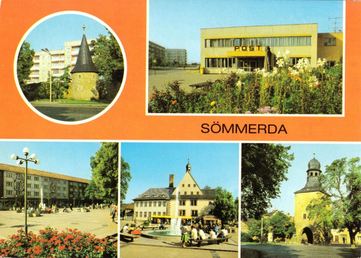Ansichtskarte, Sömmerda, fünf Abb., 1985