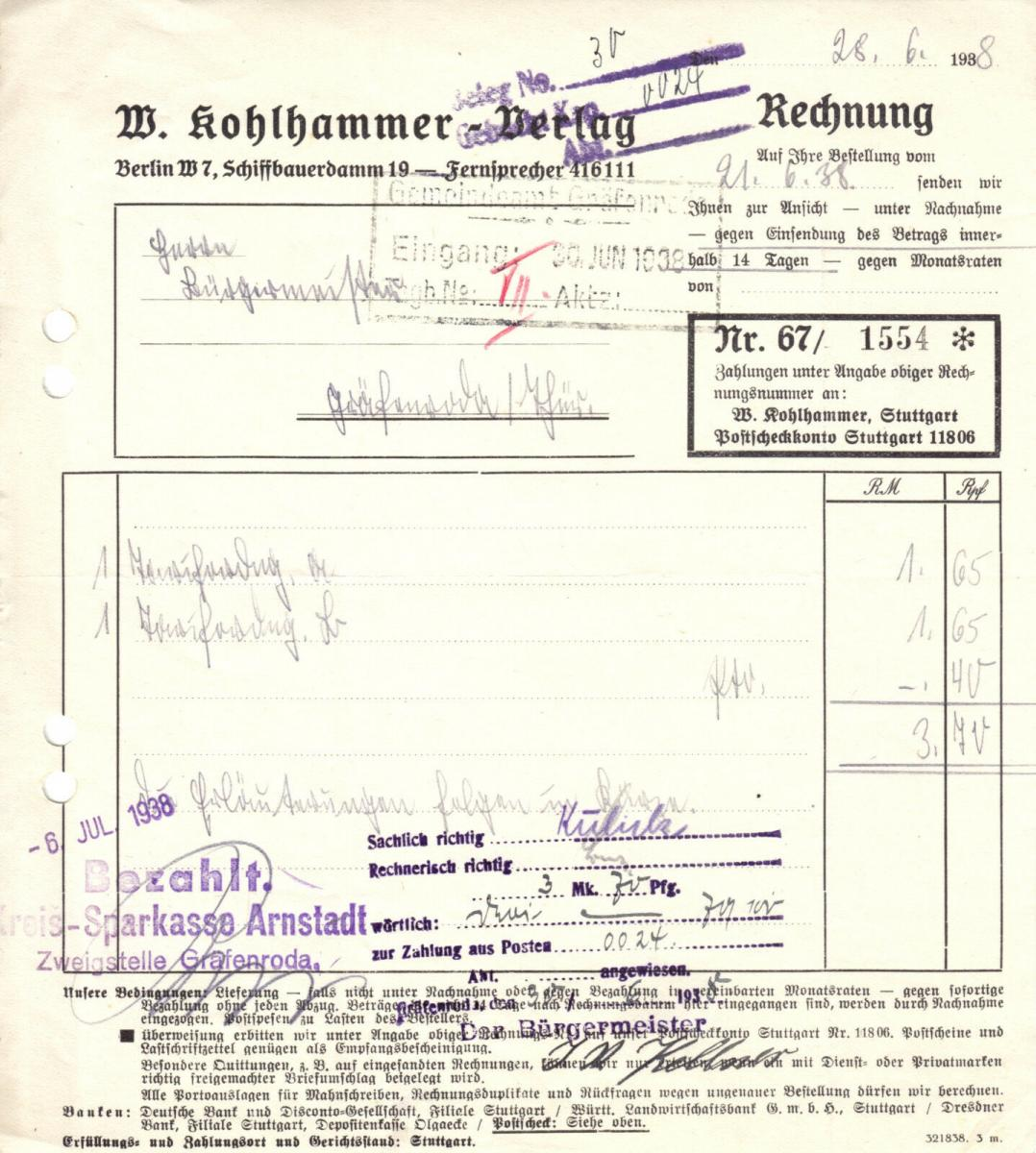 Rechnung, W. Kohlhammer - Verlag, Berlin W 7, Schiffbauerdamm 19, 21.06.1938