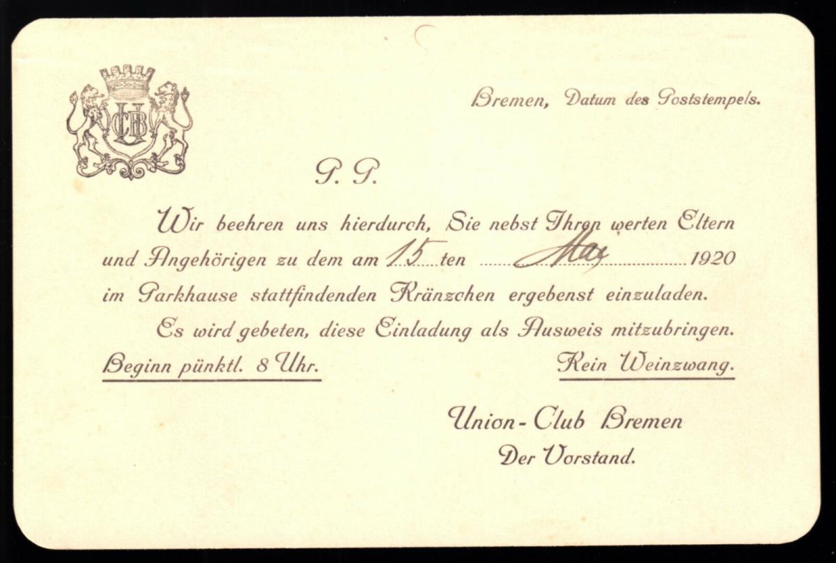 Union-Club Bremen, Einladung zum Kränzchen, 15.Mai 1920