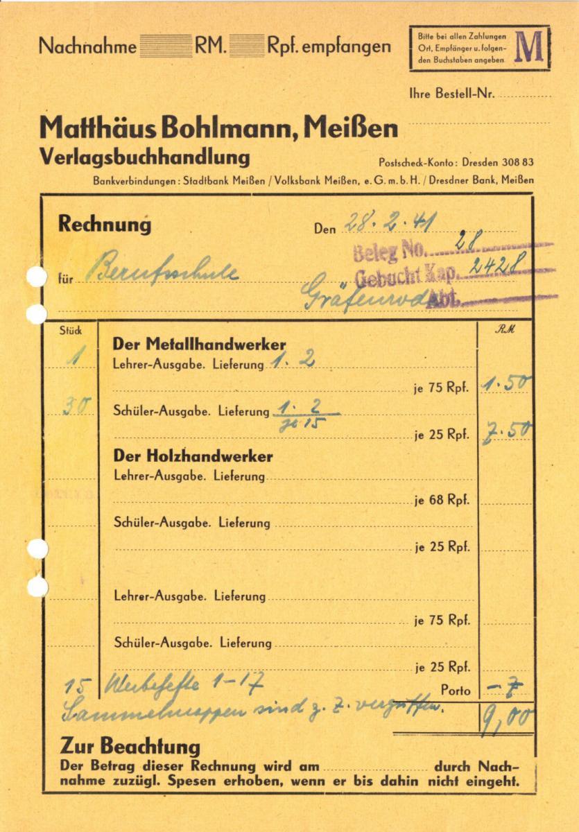 Rechnung, Verlagsbuchhandlung Matthäus Bohlmann, Meißen, 28.2.41