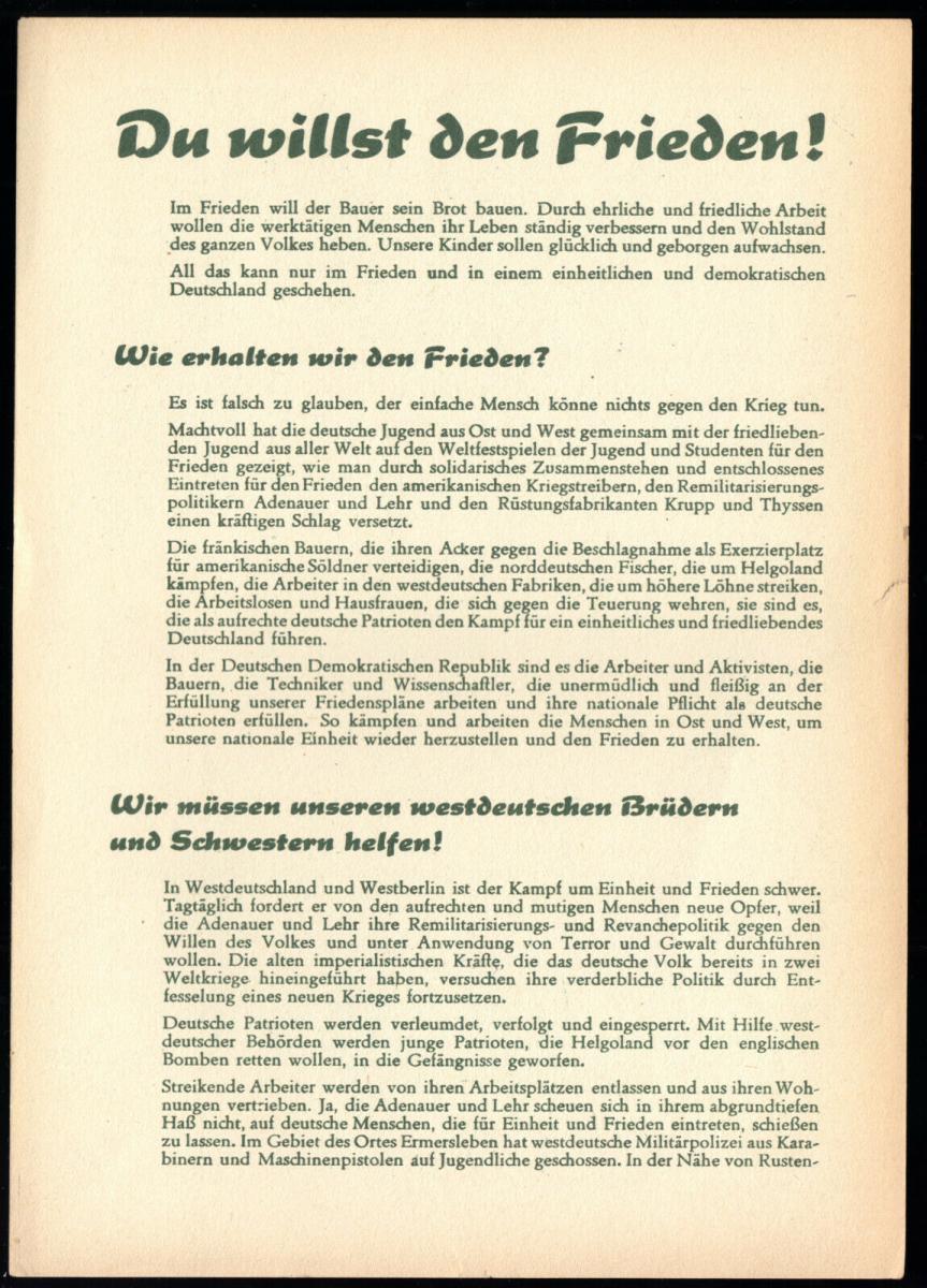 Propagandablatt der Volkssolidarität der DDR, 1951