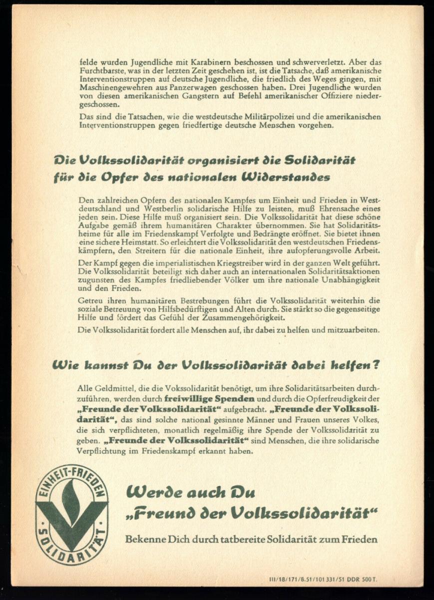 Propagandablatt der Volkssolidarität der DDR, 1951 1