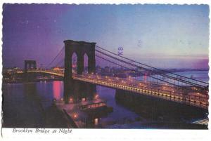 Ansichtskarte, New York, Brooklin Bridge at Night, 1981