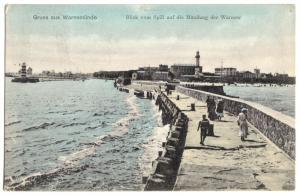 Ansichtskarte, Rostock Warnemünde, Blick vom Spill auf die Warnow-Mündung, 1907