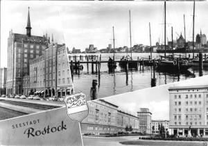 Ansichtskarte, Rostock, drei Abb., Wappen, 1963